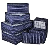 Vercord 7 Set Travel Packing Organizers Cubes Mesh Luggage Cloth Bag Cubes with Bra/Underwear Cube and Shoe Pouch