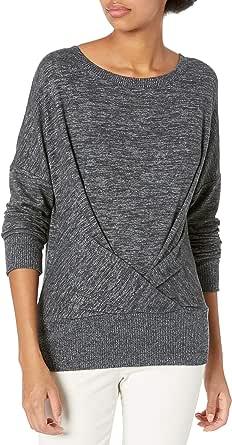 Daily Ritual Amazon Brand Women's Cozy Knit Pleat Front Draped Sweatshirt