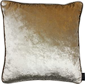 McAlister Textiles Velvet Champage Gold | 20 x 20 Inches | Pillow Cover, Home Accessories Luxury Soft Crushed Shiny Metallic Throw Cushion for Bedroom Sofa Living Room | 50x50cm