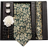 nu-Lite Formal/Casual Printed Polyester Necktie Set with Pocket Square, Lapel Pin and Cufflinks for Men (Free Size, Green)