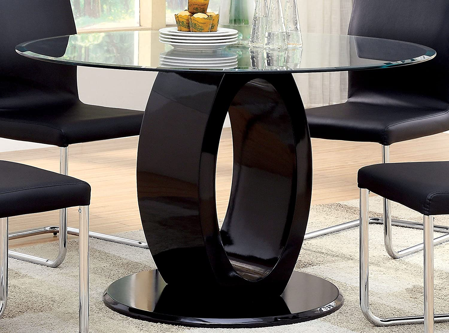 Furniture of America Quezon Round Glass Top Pedestal Dining Table, Black