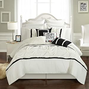 Chic Home Ashville 16 Piece Bed in a Bag Comforter Set, King, White