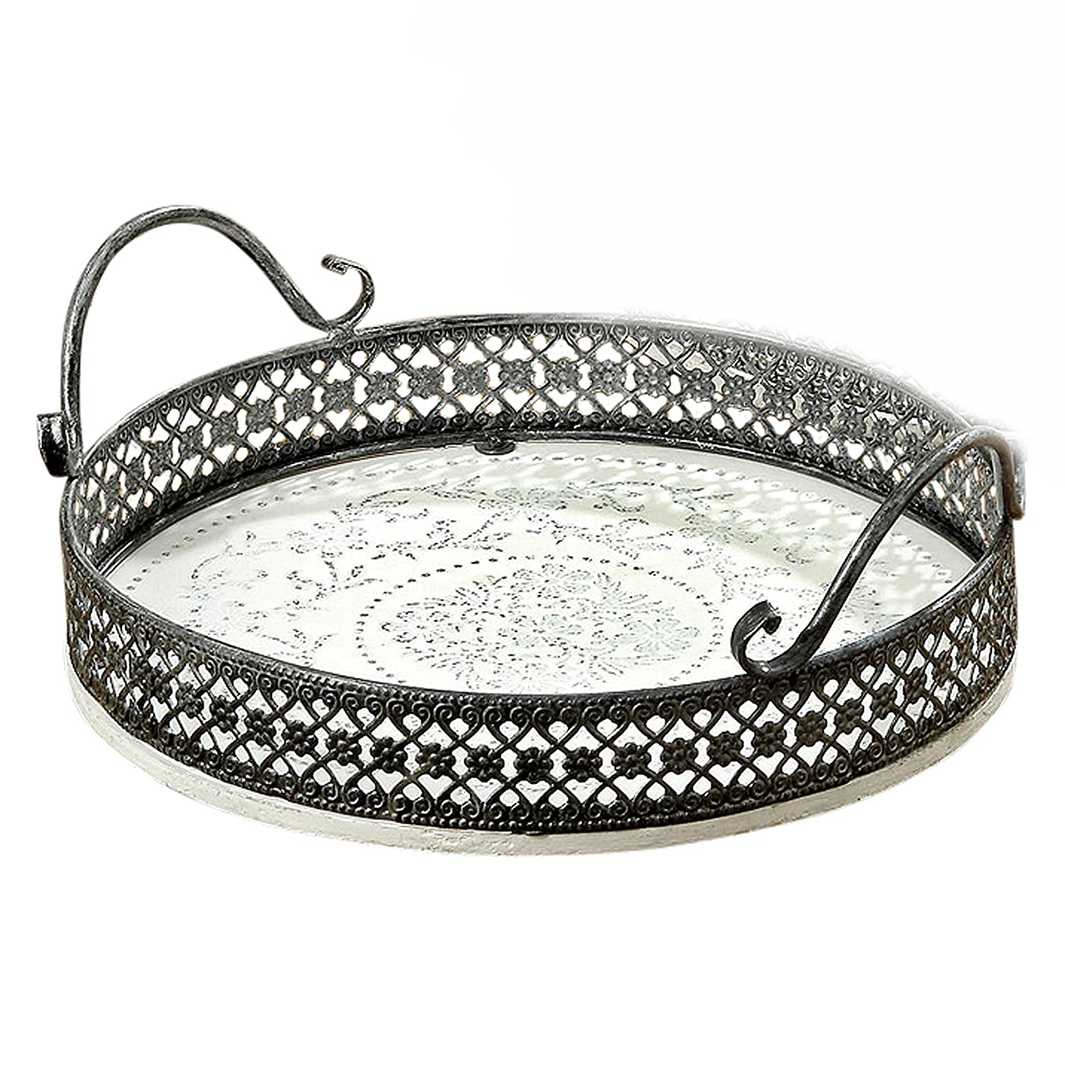 Whole House Worlds The Stockbridge Round Tray Stenciled Floral Roundels, Rustic White with Gray Accents, Detailed Vintage Style Metal Work Rims, 11 Inches Diameter, By WHW 3.28