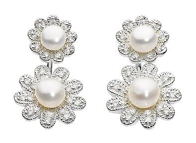 7ff4d249c Dew Sterling Silver Freshwater Pearl and Cubic Zirconia Double Flower Ear  Jacket Stud Earrings: Amazon.co.uk: Jewellery