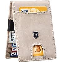 Toughergun Mens RFID Blocking Front Pocket Minimalist Slim Genuine Leather Wallet Money Clip(Premium Vintage Grey Light)