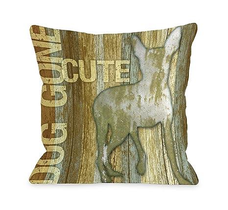 One Bella Casa Bentin decoración de mascota Perro Ido lindo madera manta almohada