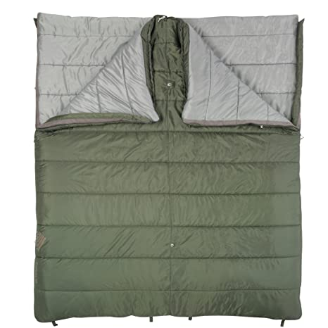 Kelty Schlafsack Callisto Double Wide - Saco de dormir rectangular para acampada, color verde,