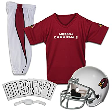 9eb2028a Franklin Sports Deluxe NFL-Style Youth Uniform – NFL Kids Helmet, Jersey,  Pants, Chinstrap and Iron on Numbers Included – Football Costume for Boys  ...