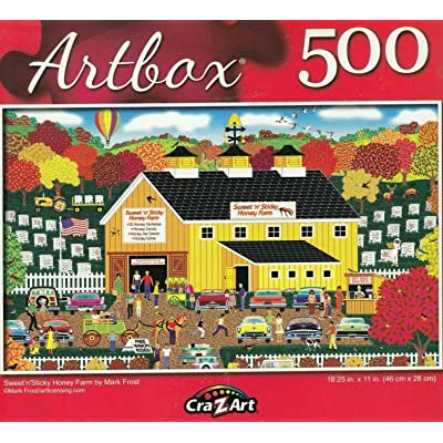 Artbox CraZart Jigsaw Puzzles for Adults Kids 500 Piece Advanced Jigsaw Puzzle 18.25 in. x 11 in. Sweet'n'Sticky Honey Farm: Toys & Games