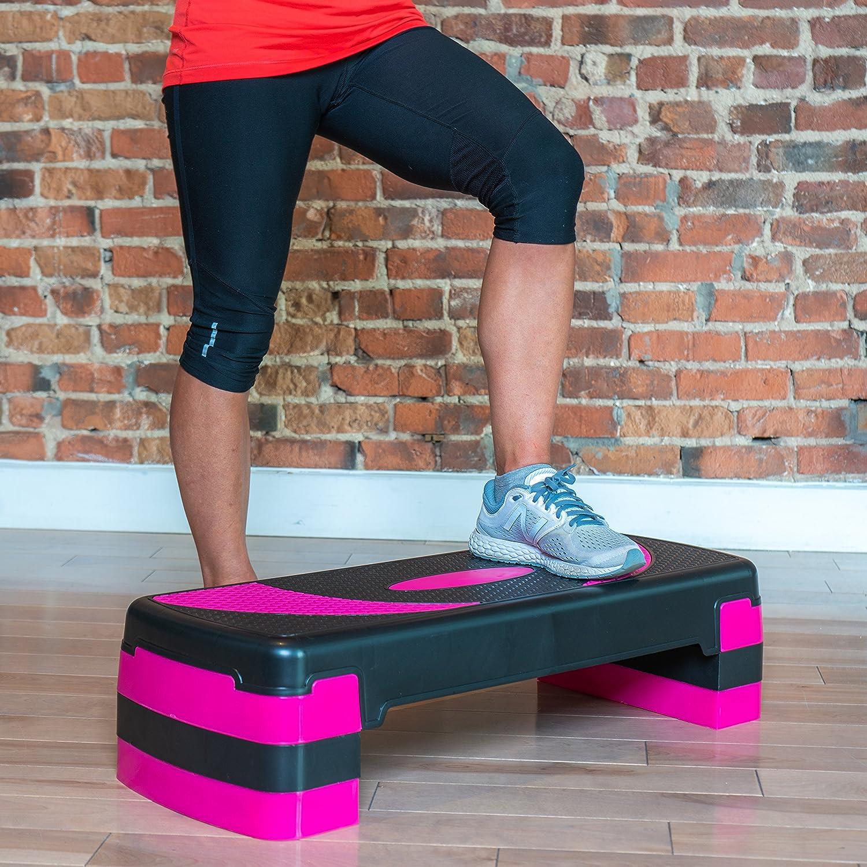 Step aeróbico 78cm ajustable en 3 alturas (10/15/20cm), Plataforma de ejercicio fitness step para su gimnasio en casa y entrenamiento físico, ...