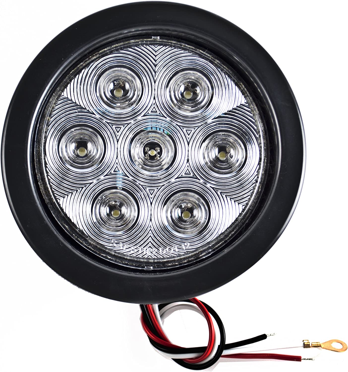 Grommet /& Pigtail 4 Red 2 White 4 Inch 7 LED Round Stop//Backup//Reverse Truck Trailer Tail Light Kit w