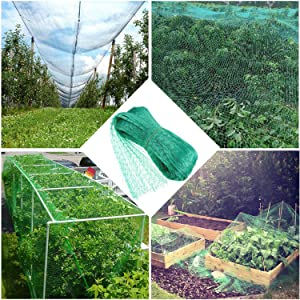 Green Anti Bird Protection Net Mesh Garden Plant Netting Protect Plants and Fruit Trees from Rodents Birds Deer Poultry Best for Seedlings,Vegetables,Flowers,Fruit,Bushes,Reusable Fencing 6.6Wx20L(Ft)