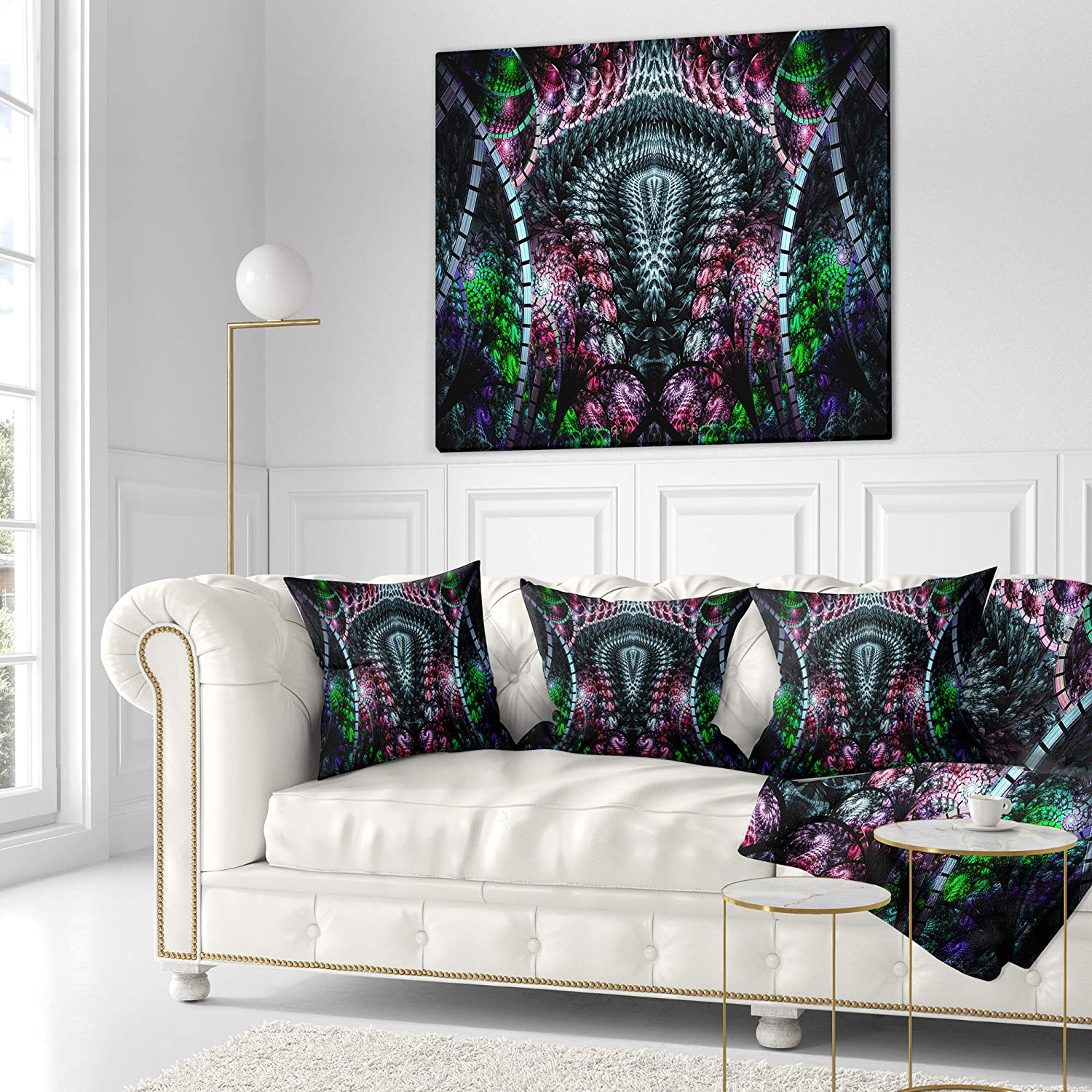 in Insert Printed on Both Side x 18 in Designart CU16515-18-18 Strange Fractal Design on Black Abstract Cushion Cover for Living Room Sofa Throw Pillow 18 in