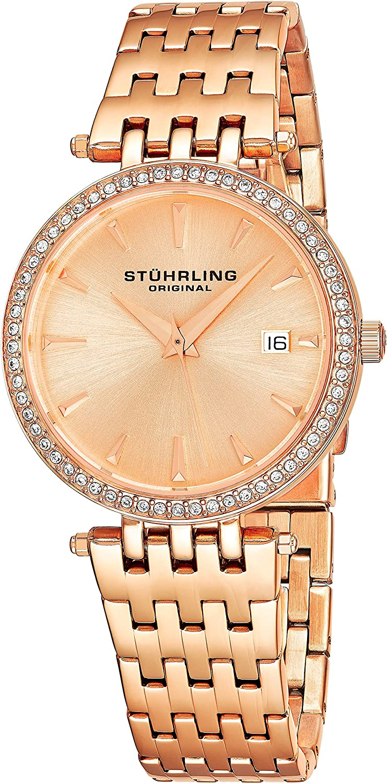 Stuhrling Original Women's 579.04 Soiree Swarovski Crystal-Accented Rose Gold-Tone Watch