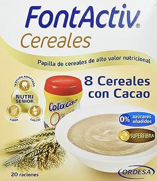 Fontactiv Cereales con Cacao 600 grs papilla de cereales de alto valor nutricional adaptada a las necesidades y requerimientos de adultos y personas ...