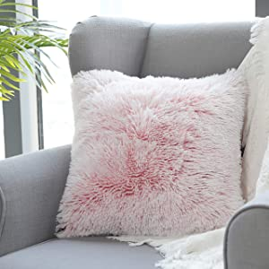 Uhomy Home Decorative Super Soft Luxury Series Faux Fur Throw Pillow Case Square Cushion Cover Pillow Cover for Sofa Car Bedroom Chair, Pink Ombre 18x18 Inch 45x45 cm, 1 Pack