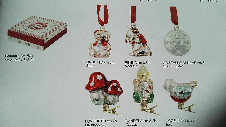 WALD Set 6 Decorazioni Albero Confezione Regalo Natale addobbo