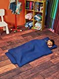 EVERYDAY KIDS Toddler Nap Mat with Removable Pillow - Navy - Carry Handle with Straps Closure, Rollup Design, Soft Microfiber for Preschool, Daycare, Travel Sleeping Bag - Ages 3-6 Years