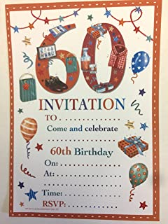 60th Birthday Party Invitations Male Design 20 Sheets And Envelopes