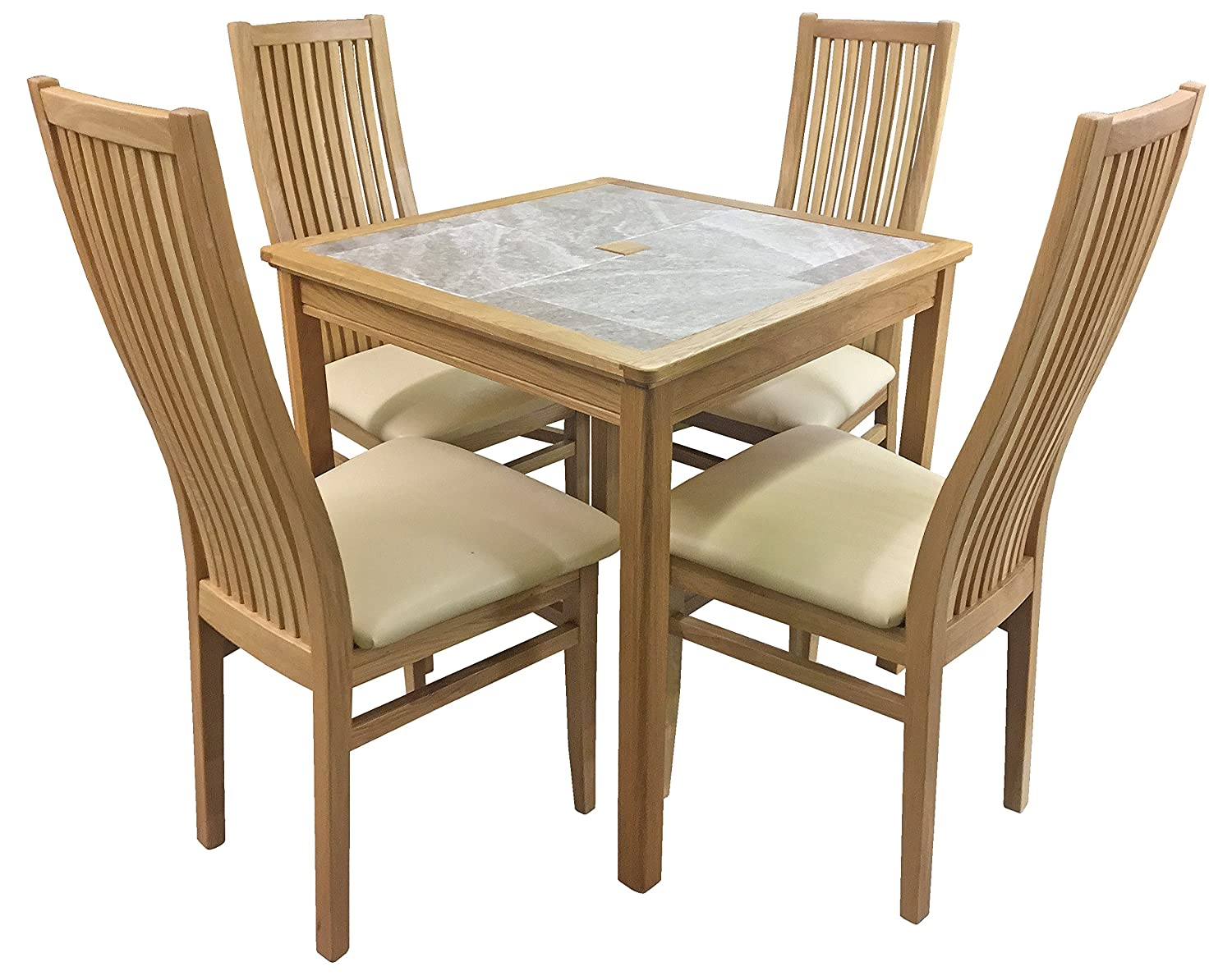 50c81fa56ac AnBerCraft Beaumont Range Grey Tile Top Small Dining Table Set with 4 Cambridge  Chairs