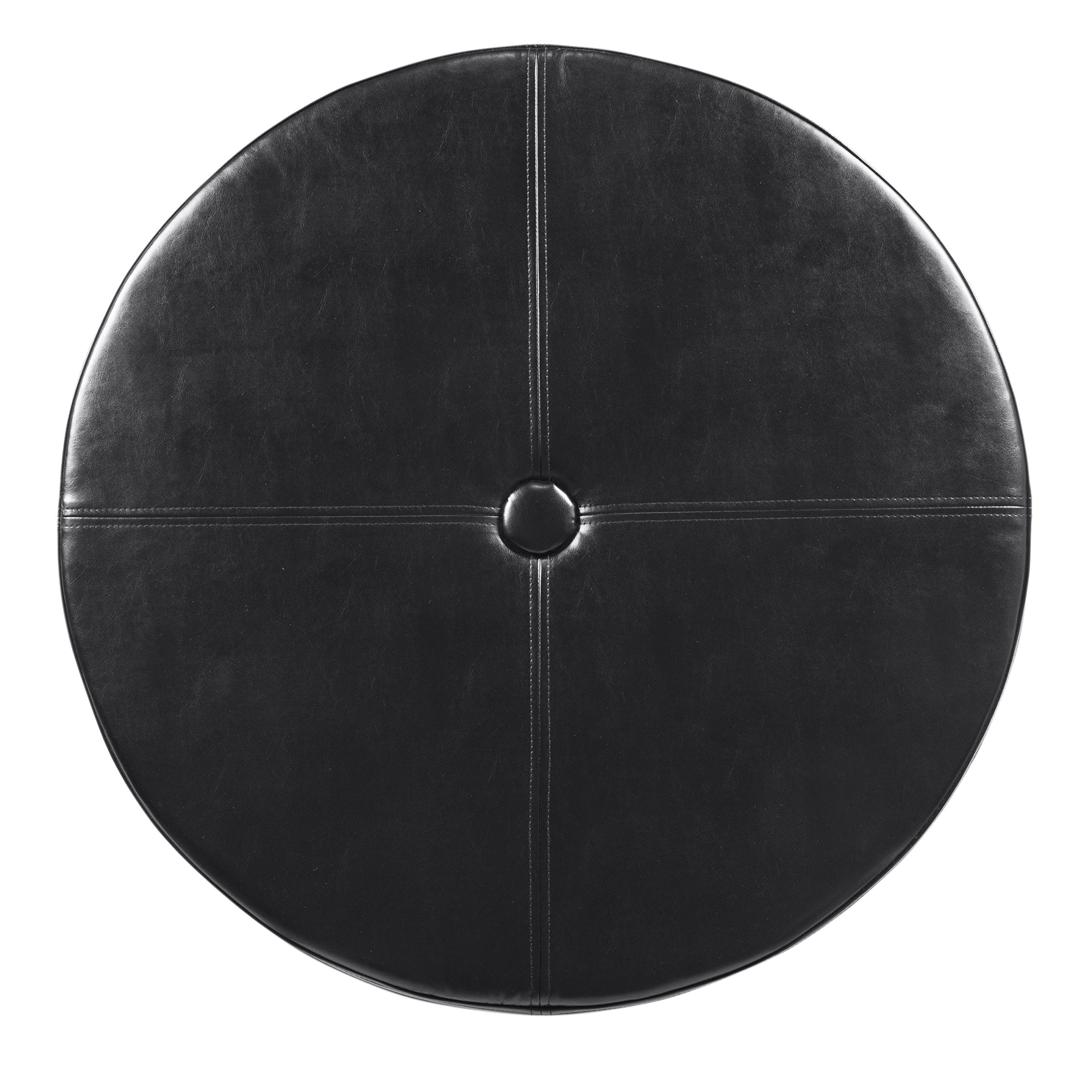 HomePop K5508-E676 Leatherette Round Button Tufted Storage Ottoman, 31.75'' x 16.50'', Black by HomePop (Image #7)