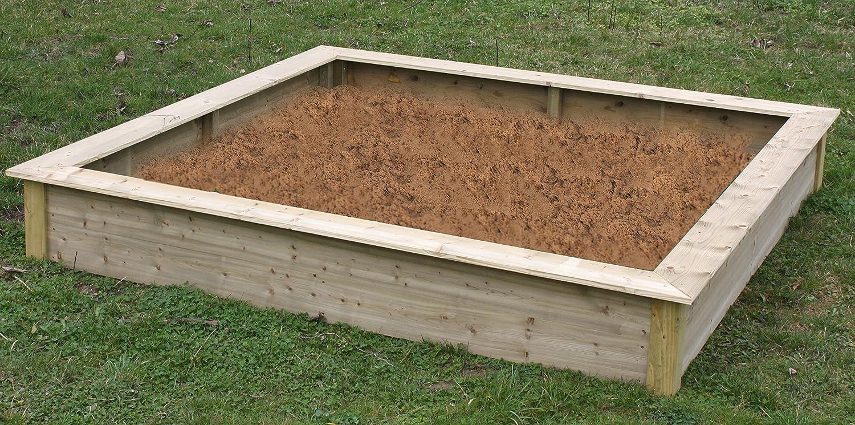 Elmato 13709 Sandkasten XL groß kesseldruckimprägniert (220x220x30 cm)