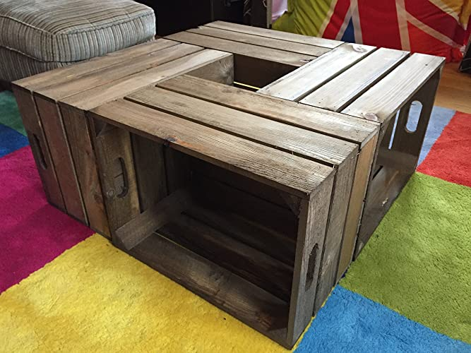 Rustic Crate Coffee Table In Medium Brown Sturdy Protected