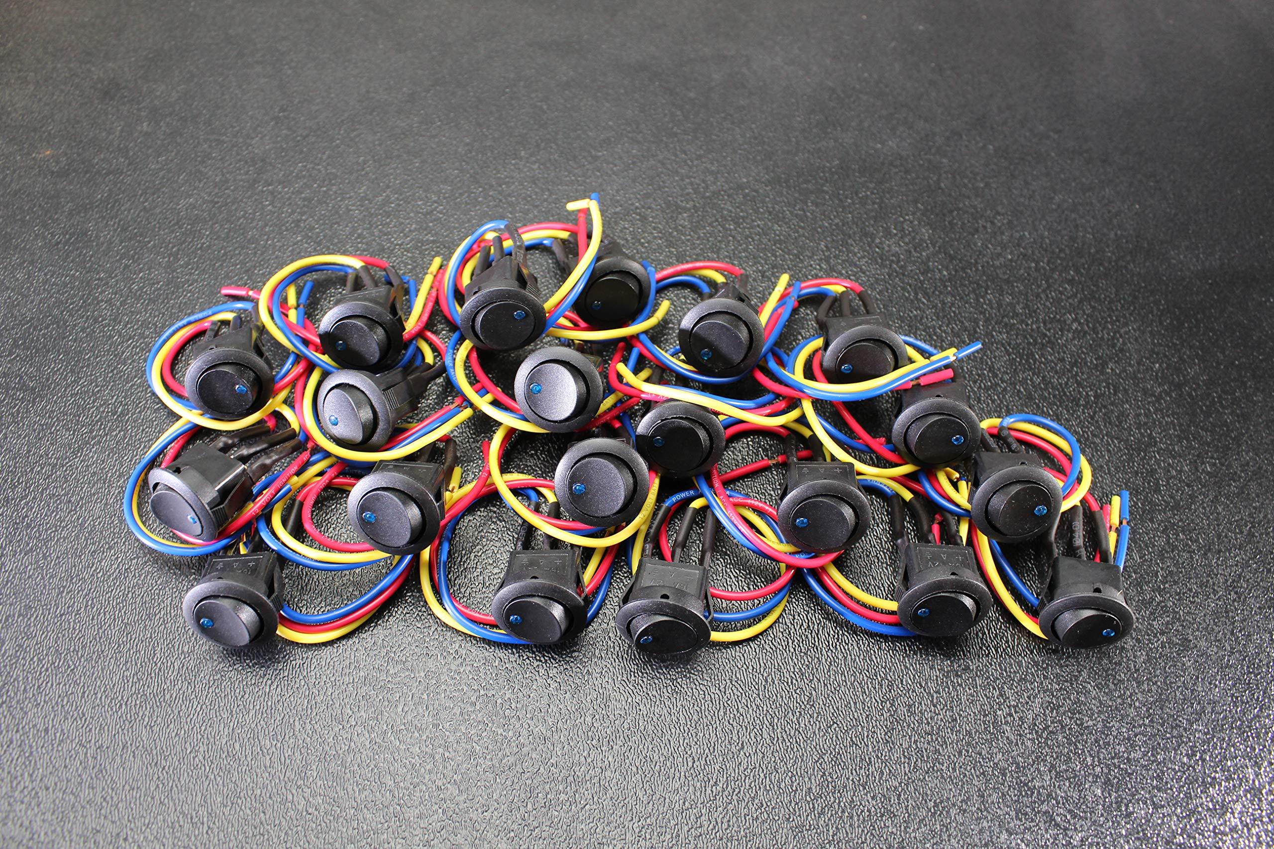20 PCS Rocker Switch ON Off Blue Toggle LED 12V 16 AMP 3 PIN IS-EC-RS1216BLU by ENNIS ELECTRONICS