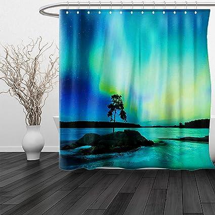 HAIXIA Shower Curtain Northern Lights Single Tree Over Rocky Stone By River Borealis Earth Beauty Image