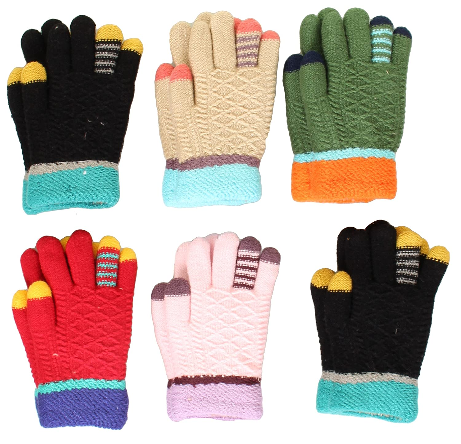 Toddler-Kids Soft And Warm Fuzzy Interior Lined Gloves 6-Pack