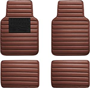 FH Group F12001BROWN Luxury Universal All-Season Heavy-Duty Faux Leather Car Floor Mats Stripe Design w. High Tech 3-D Anti-Skid/Slip Backing