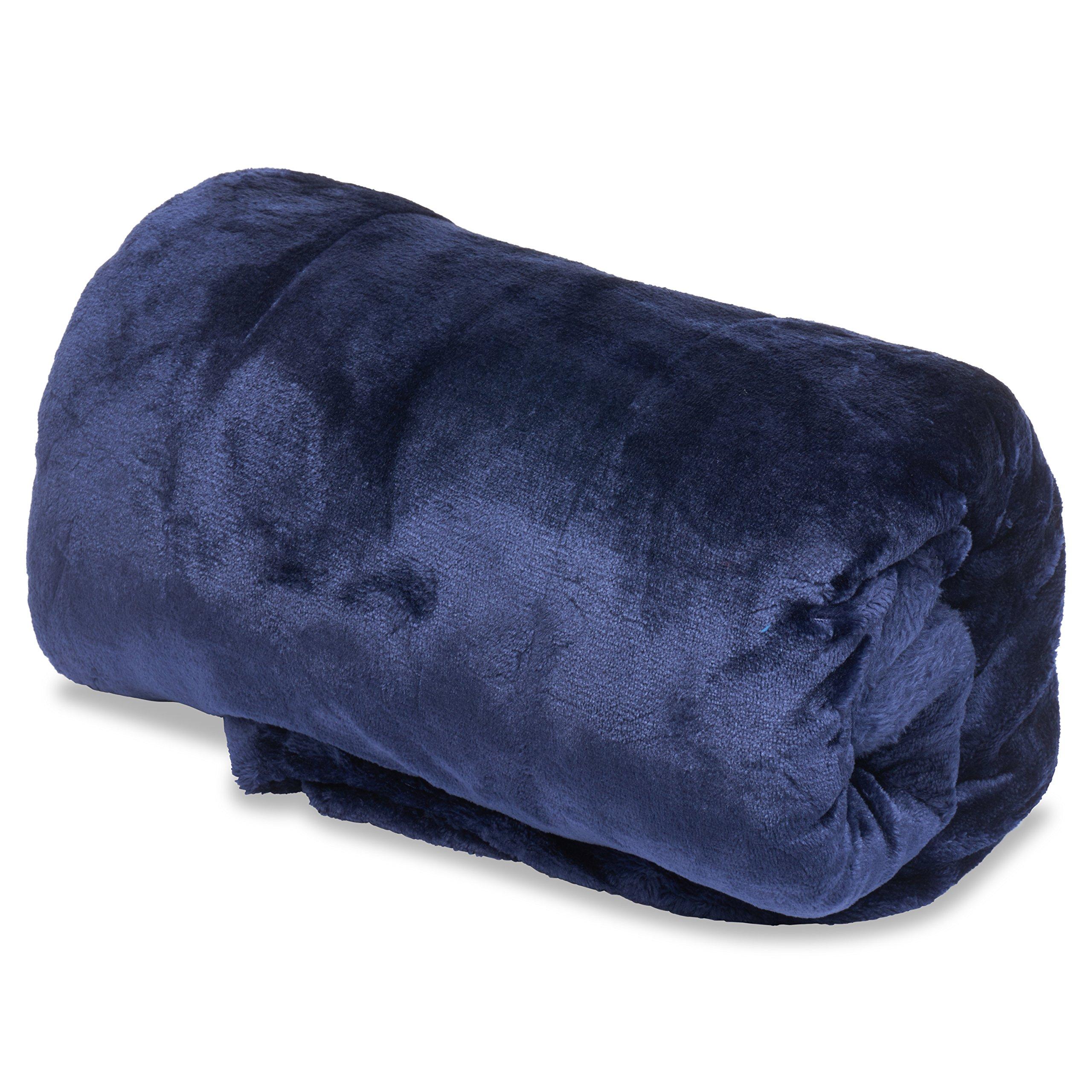 OVERSIZED 50x 80 Vera Reversible Extra Comfortable Microfiber Blanket - Navy