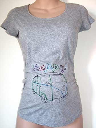 f882ddf2 Happy Camper Hand Painted Maternity T-shirt Top by Scrumptious Bump  Maternity Wear (10, Grey): Amazon.co.uk: Baby