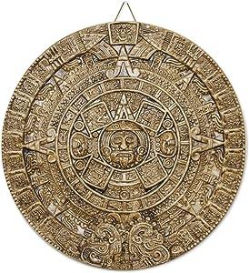 NOVICA Light Brown Archaeological Theme Ceramic Advent Calendar Plaque, Honey Aztec Sun Stone'