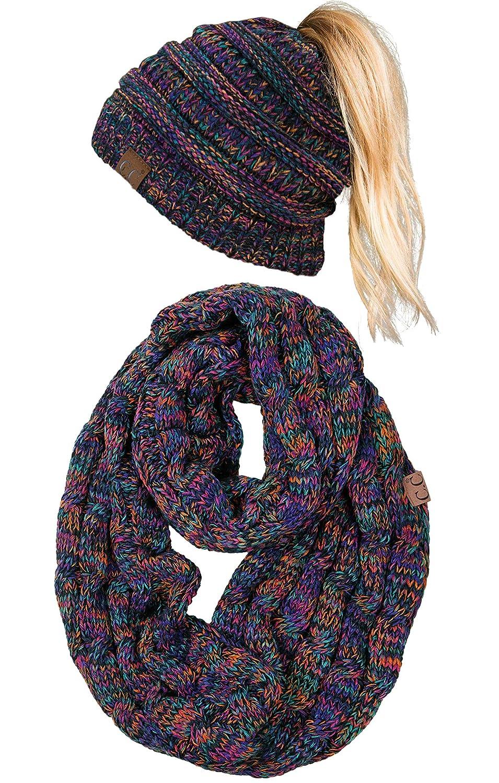 3f8929ee504 cBT-6800-816.0641 Messy Bun Beanie Tail Matching Scarf Bundle -  Kaleidoscope 4 32 at Amazon Women s Clothing store