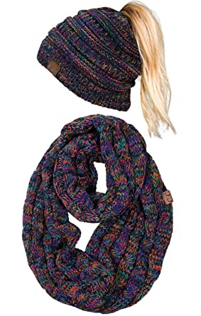 c3e15eb2358429 cBT-6800-816.0641 Messy Bun Beanie Tail Matching Scarf Bundle -  Kaleidoscope 4#