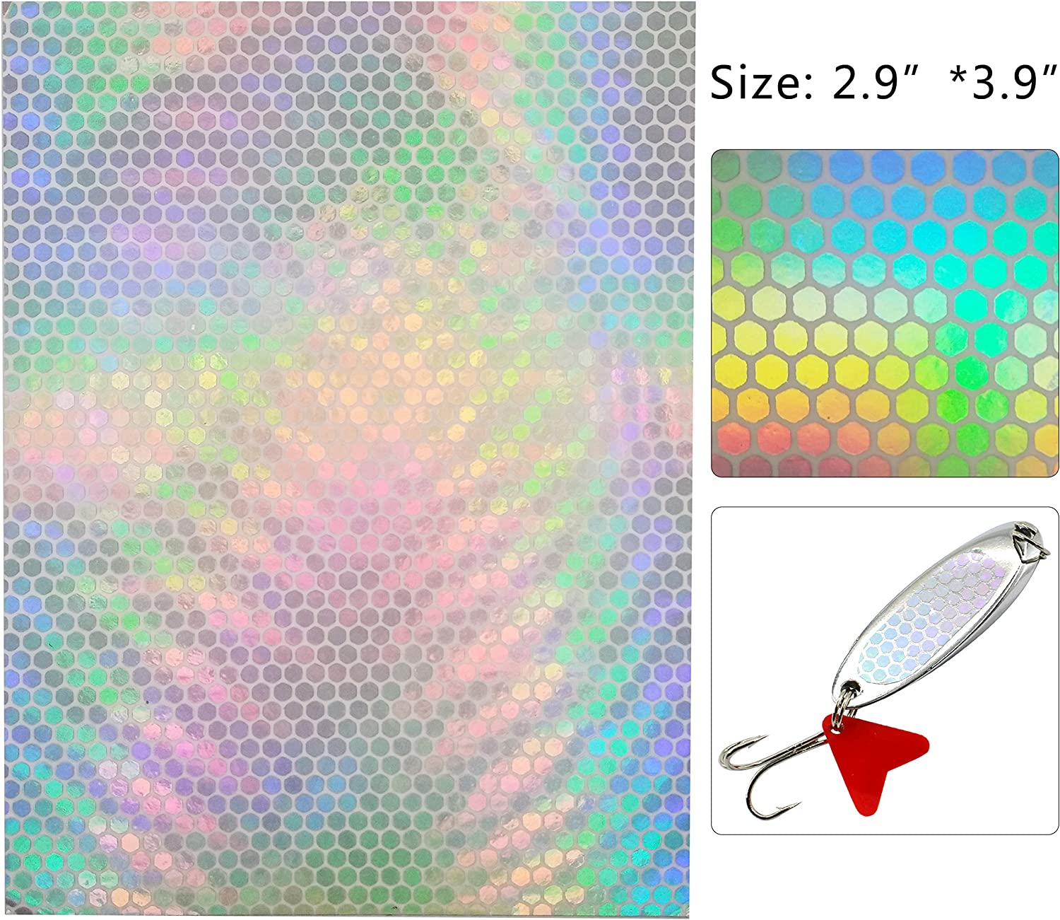 """3/"""" Ladderback 1//2/"""" Holo Fish Scale Fishing Lure Tape 20 PK Die Cut 17 Colors"""