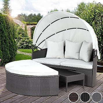 Miadomodo - Canapé de jardin rond modulable en poly rotin - avec table  basse et toit pliant – Gris – COLORIS AU CHOIX