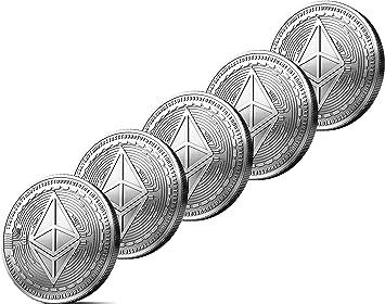 5x Moneda física de Ethereum revestida en plata auténtico. Una verdadera pieza de coleccionista, con estuche protector. Una adquisición obligada para ...