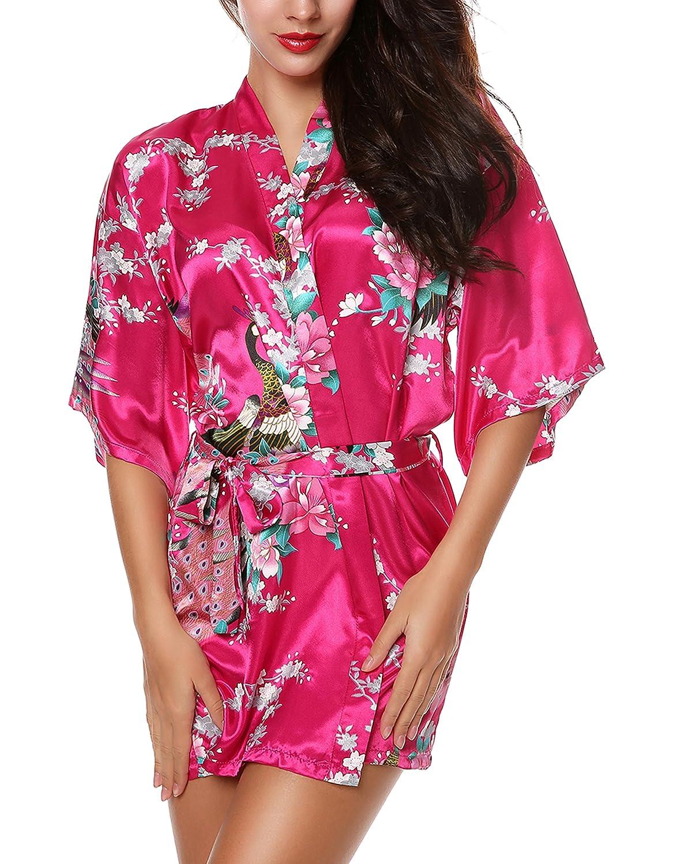 97b3dd12c4 Avidlove Women s Kimono Robes Peacock and Blossoms Silk Nightwear Short  Style at Amazon Women s Clothing store