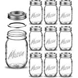 Regular-Mouth Glass Mason Jars, 16-Ounce Glass Canning Jars with Silver Metal Airtight Lids and Bands with Measurement Marks,