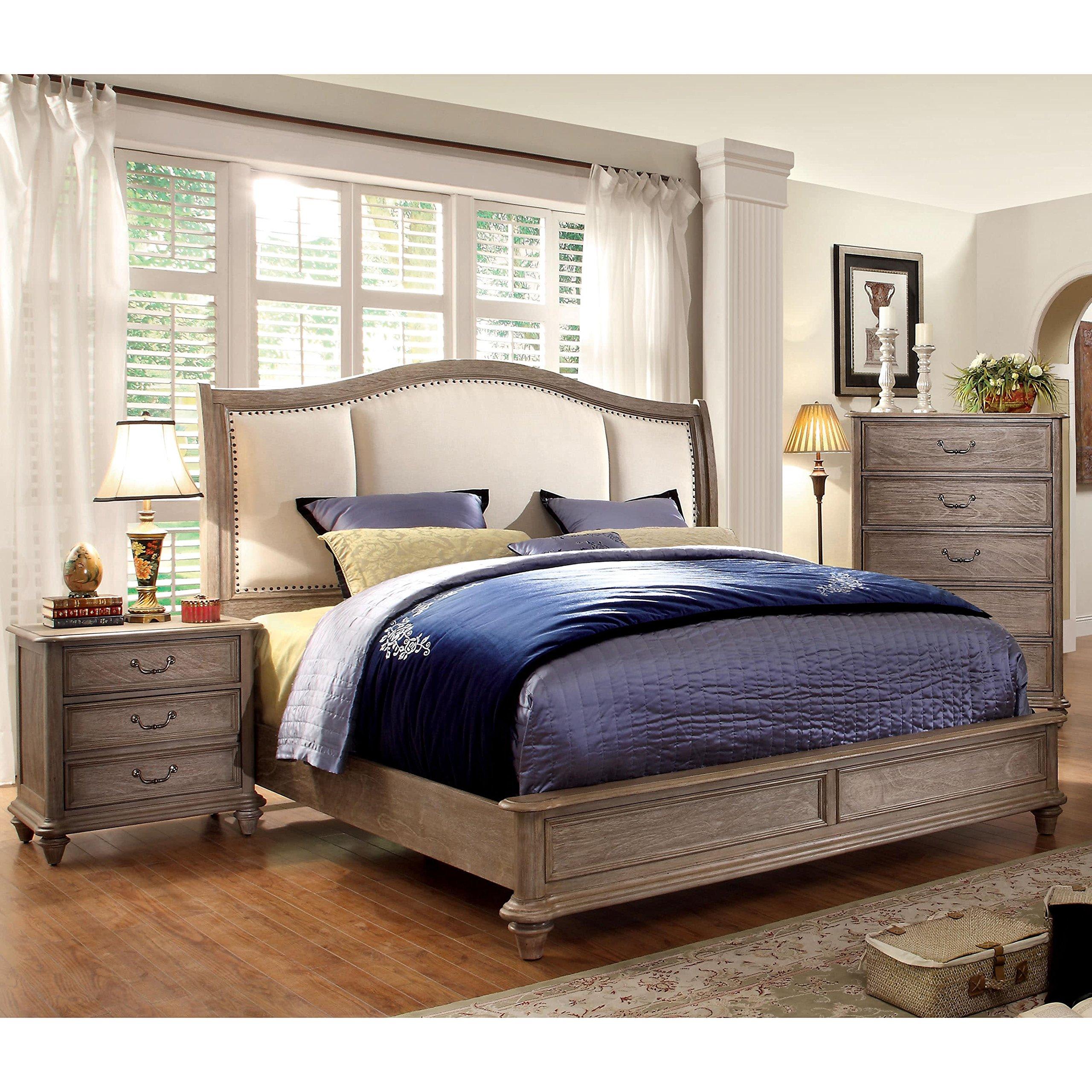 Furniture of America Minka II Rustic Grey 2-Piece Bed with Nightstand Set Queen