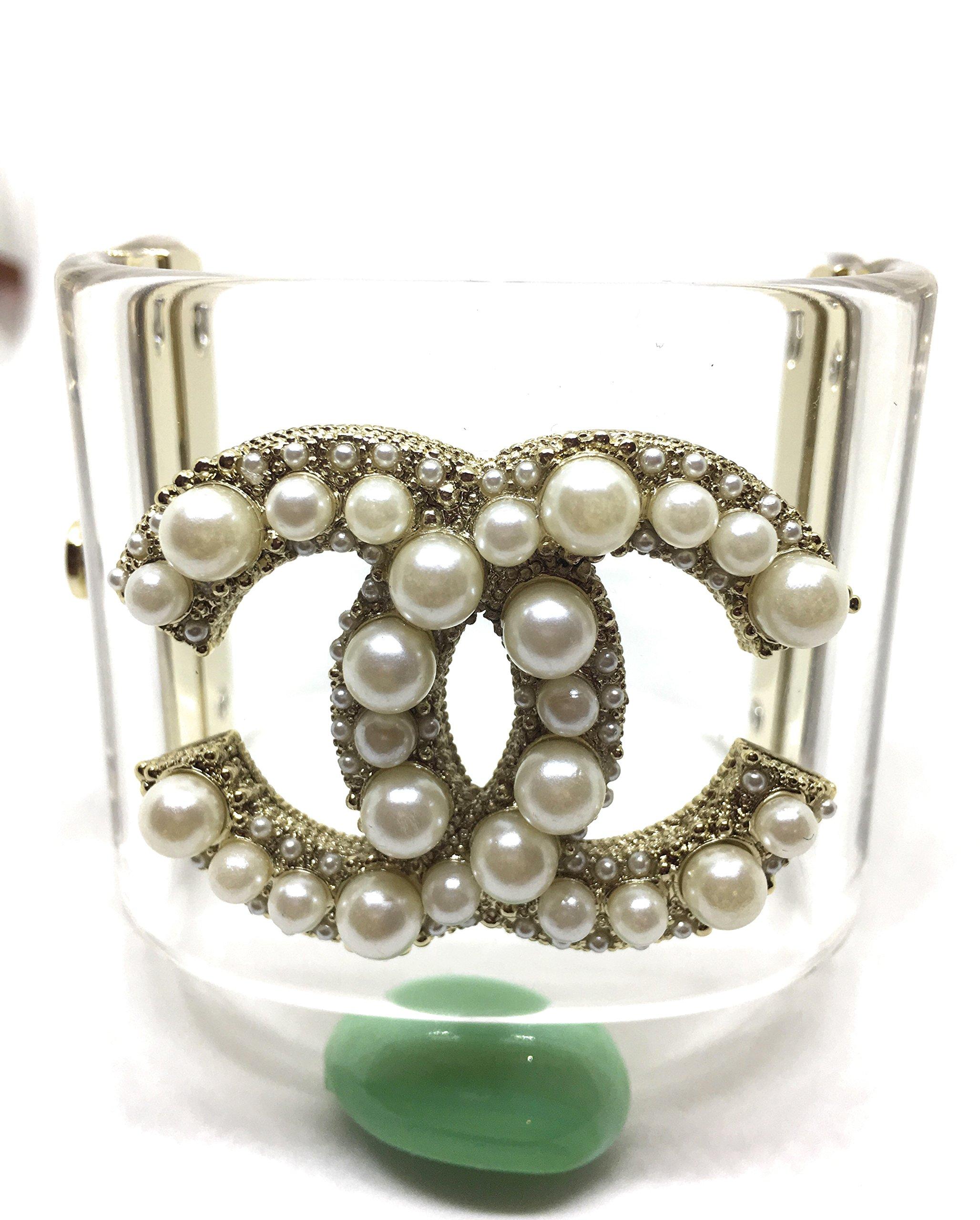 K C Luxury Woman Clear Luxury Cuff Bracelet Gold Bracetets With Pearls
