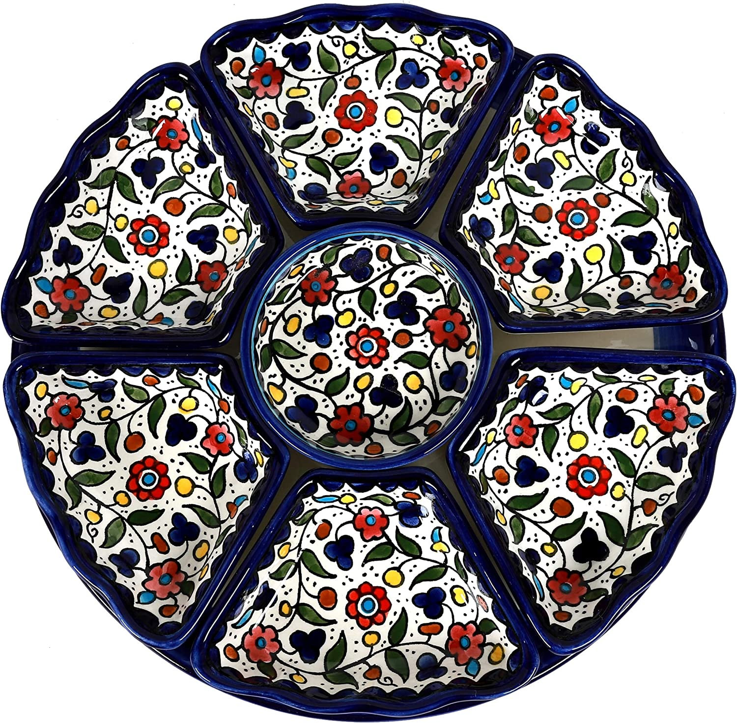"""Oriental Arts Round Ceramic 8 piece Serving Platters- Handmade Serving Dishes, Divided Serving Trays for Party, Chip and dip serving set for Appetizers, Veggies, Candy and Snacks(Large 13.2"""", Multi)"""