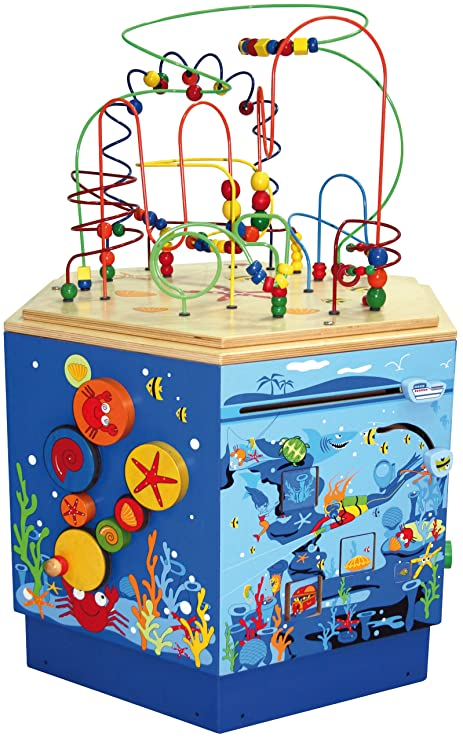 Amazon.com: Hape Coral Reef Wooden Activity Center Table: Toys & Games