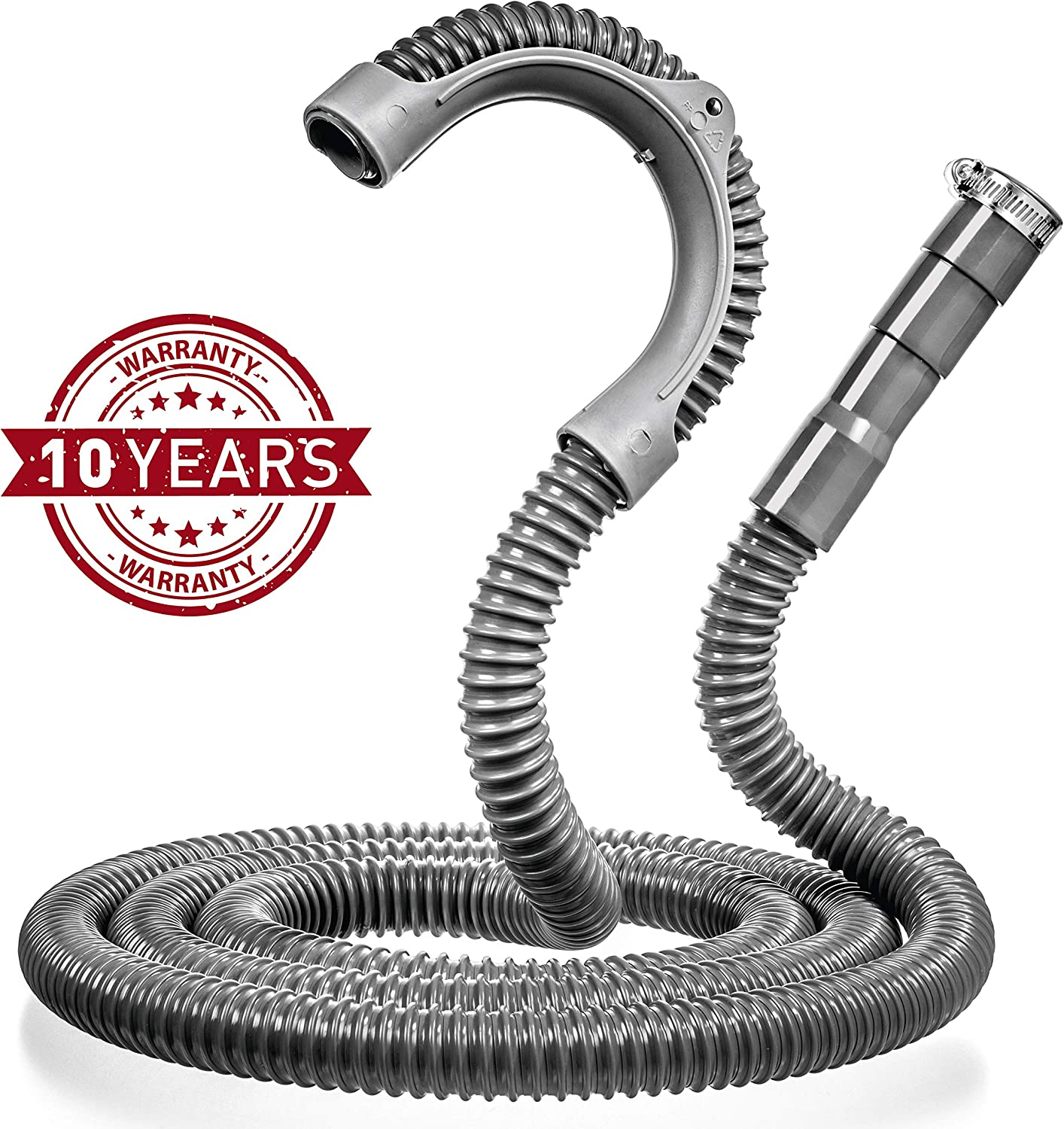 Universal Washing Machine Drain Hose - 10 Ft Drain Hose - Corrugated and Flexible Washer Drain Hose - Quick and Easy Installation Washer Hose Drain Replacement - Reinforced Washer Hoses with Clamp