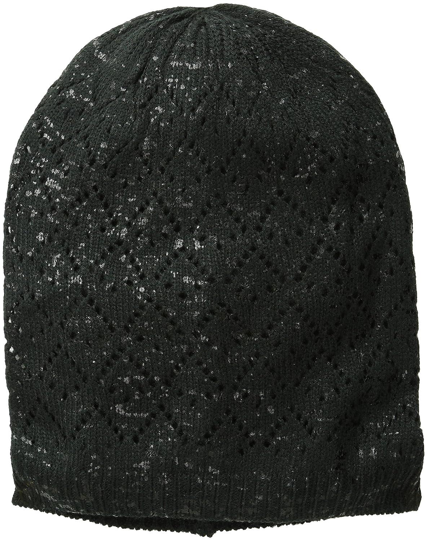 D & YレディースオープンPointelle Beanie with Lurex One Size ブラック B00VC3K7BQ