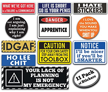 Pack Of Funny Hard Hat Stickers These Vinyl Decals Are Awesome Funny