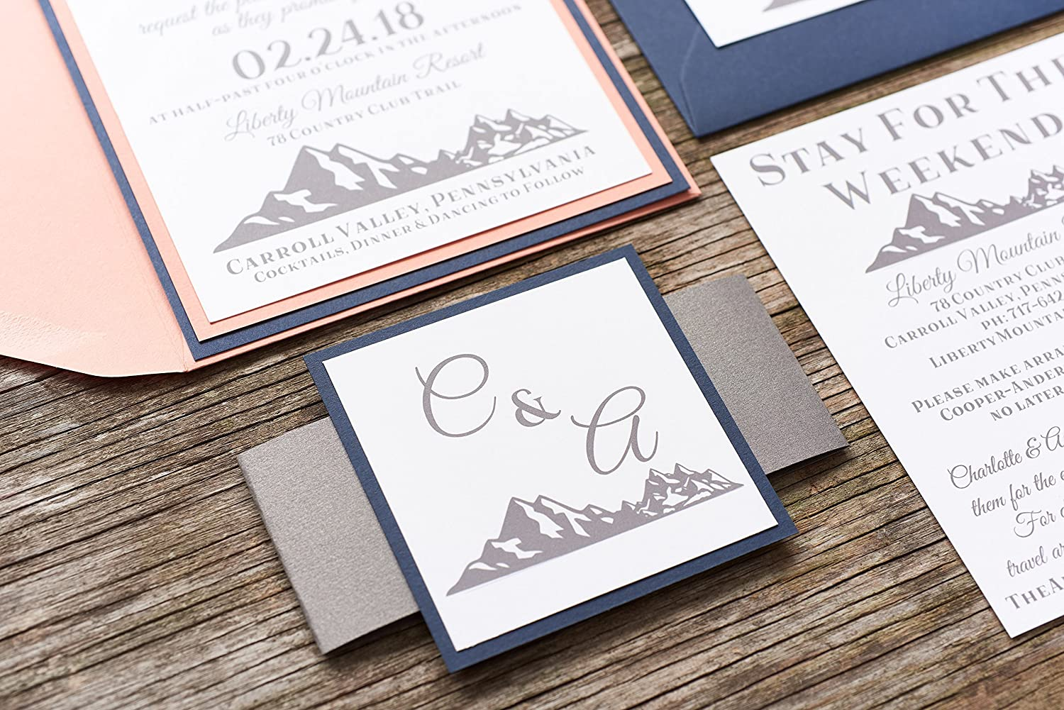 Amazon.com: Personalized Mountain Wedding Invitation Card Suite with ...