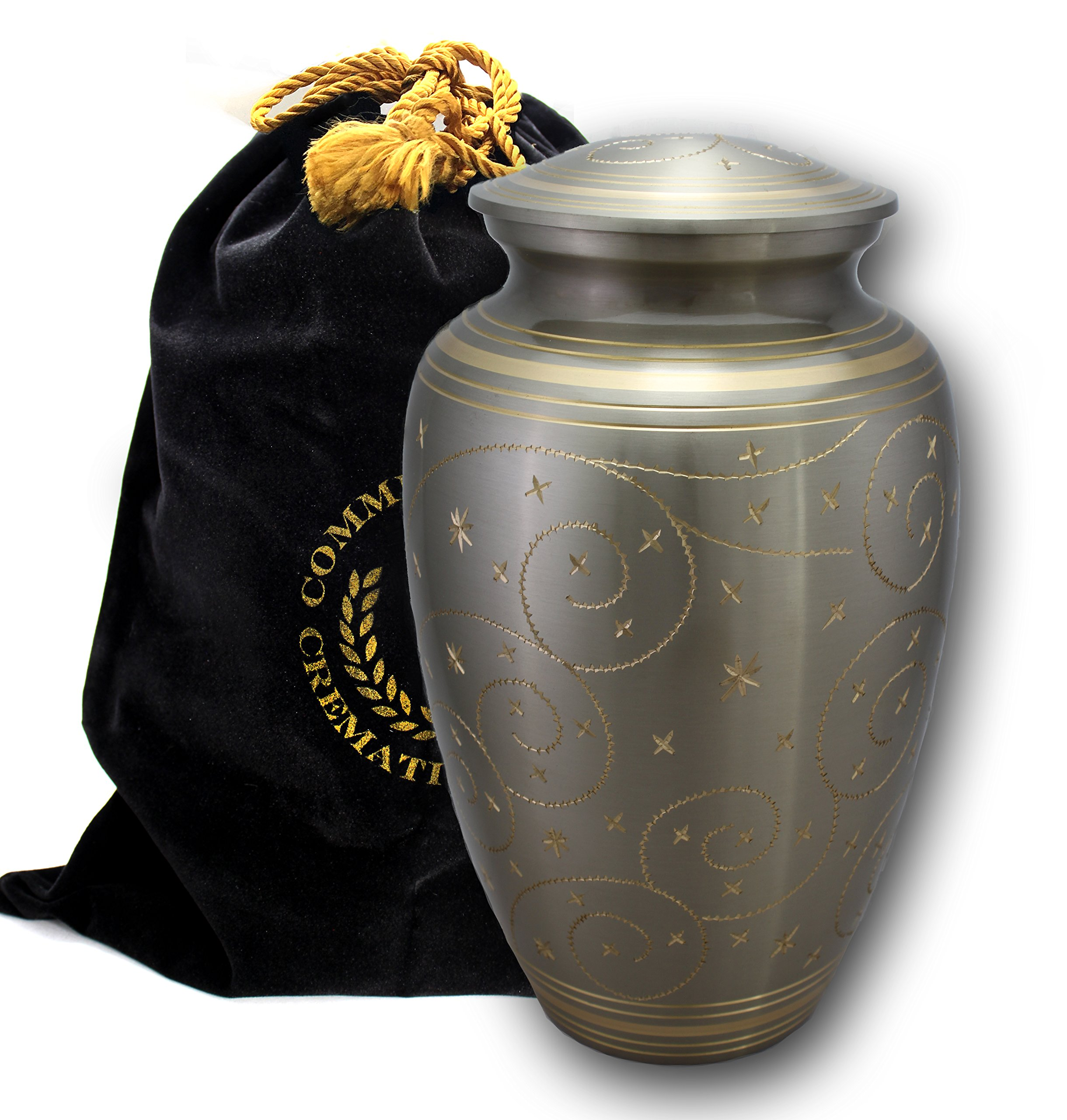 Star Light Brass Metal Funeral Cremation Urn for Human Ashes (Large) by Commemorative Cremation Urns (Image #3)